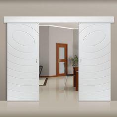 Thruslide Surface Limelight Eclipse White Primed Flush Sliding Double Door and Track Kit - Lifestyle Image.  #barn #style #doors
