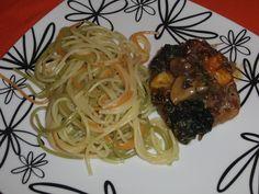 ratatui dos pobres: Lombinho recheado com espinafres e cogumelos