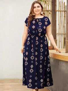 To find out about the Plus Tie Neck Tribal Print Maxi Dress at SHEIN, part of our latest Plus Size Dresses ready to shop online today! Vestidos Plus Size, Plus Size Maxi Dresses, Plus Size Outfits, Maxi Dress With Sleeves, The Dress, Plus Size Bohemian, Looks Plus Size, Curvy Dress, Plus Size Fashion For Women