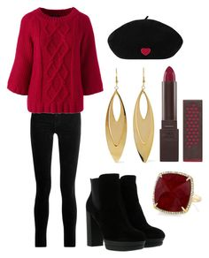 """""""Raspberry👄"""" by fatimasaleem ❤ liked on Polyvore featuring J Brand, Lands' End, Hogan, Anne Sisteron, Kenneth Jay Lane and Burt's Bees"""