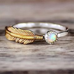 opal and feather ring - indie and harper