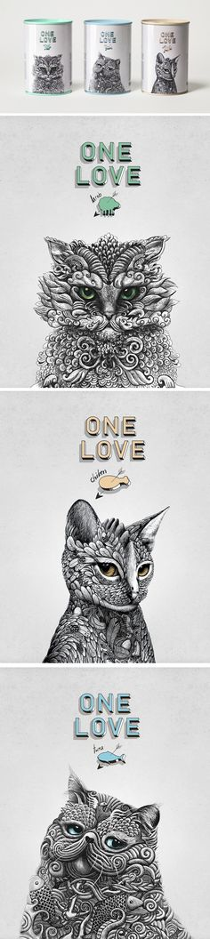 ONE LOVE Cat food Design #Cat lovers - Join http://facebook.com/OzziCat * Get cat #magazine http://OzziCat.com.au