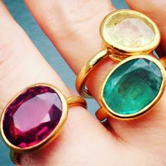 WEBSTA @ lisaeldridgemakeup - ... and then there were three! New addition to the family. Joining my green and yellow Sapphires is a beautiful pinky red-Violet Spinel. Spinels are rarer than rubies and were very popular gemstones during the Victorian era after which they went out of fashion. I'm in love with their colour ❤️ Rings by @williamwelstead_jewels