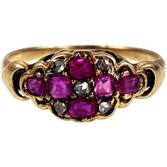 This early Victorian ruby and diamond is a typical example of the sentimental motifs so popular during the era. With bright pink rubies and sparkling diamonds forming a flower-like design, it looks as though a breeze has just begun to scatter the petals across the ring top! It would have made a charming little token of affection for the wearer. It's delicately crafted, yet still sturdily set into a gorgeous shank with a rich patina. A beautiful keepsake to treasure for another century!pDetails ( Victorian Life, Ruby Rose, Rose Cut Diamond, Shank, Bright Pink, Breeze, Jewelry Rings, 18k Gold, Diamonds
