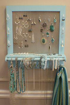 100 diy jewelry organizers storage ideas full tutorials diy on sale beautiful turquoise wall mounted jewelry organizer solutioingenieria Choice Image