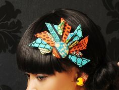 Hair piece n earrings African Inspired Fashion, African Print Fashion, African Fashion Dresses, African Necklace, African Jewelry, Fabric Jewelry, Hair Jewelry, Jewellery, African Accessories