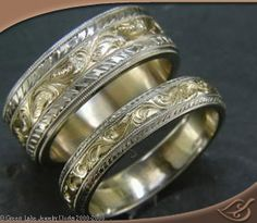 ENGRAVED 18K YELLOW GOLD BANDS WITH ENGRAVED AND MILIGRAINED PLATINUM RAILS. #GreenLakeJewelry
