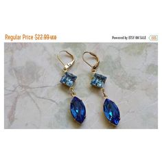 SPRING SALE Sapphire Crystal Earrings Rhinestone Earrings Crystal... (520 UAH) ❤ liked on Polyvore featuring jewelry, earrings, rhinestone earrings, crystal jewellery, earring jewelry, crystal rhinestone earrings and crystal earrings