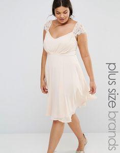 Image 1 ofBoohoo Plus Eyelash Sleeve Chiffon Midi Skater Dress