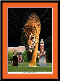 Clemson Tiger Over the Mountains Framed Print - Powerful!