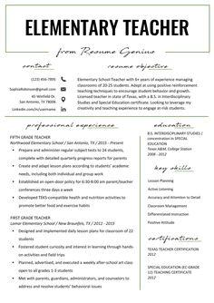 Student Teacher Resume Examples New Elementary Teacher Resume Samples & Writing Guide Preschool Teacher Resume, Elementary Teacher Resume, Teacher Resume Template, Resume Template Free, Elementary Schools, Teacher Resumes, Elementary Teaching, Student Teacher, Resumes For Teachers