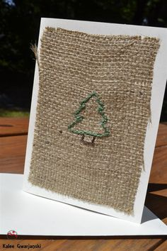 Burlap Christmas Tree Greeting Card 4 x 5.5 by KaleeGwarjanski, $5.00