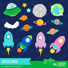 OUTER SPACE Clipart Astronaut Clipart Space Clipart by grafos Preschool Cubbies, Preschool Crafts, Crafts For Kids, Quiet Book Patterns, Felt Patterns, Space Party, Space Theme, Outer Space Costume, Leo Birthday
