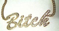 Im-a-BITCH-Crystal-Pendant-14-Necklace-Gold-Tone-chain-link-BIB