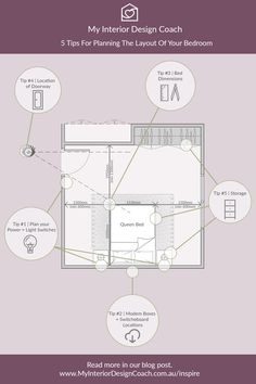 Planning your layout for your Bedroom? My Interior Design Coach, Jami Elliot, gives you some super handy tips to remember! Check out the full blog post for all the details.