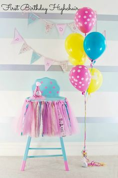 Hometalk :: Great First Birthday Highchair, like the idea of the balloons for pictures, but match colors to party Birthday Chair, Birthday Highchair, Baby Girl First Birthday, Birthday Bash, First Birthday Parties, First Birthdays, Birthday Ideas, Special Birthday, Birthday Plate