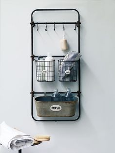 Small bathroom storage solutions sorted with my five picks - vintage industrial shelving, rustic shelves, wall mounted storage, ladder shelves and metal baskets Bath Rack, Bathroom Rack, Bathroom Shelves, Bathroom Sets, Bathroom Store, Cream Bathroom, Neutral Bathroom, Bathroom Cabinets, Bathroom Designs