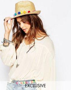 Catarzi Straw Hat with Pom Pom Trim