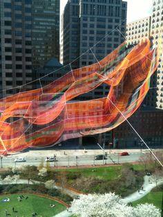 Janet Echelman Suspends Massive Aerial Sculpture Over Boston's Greenway