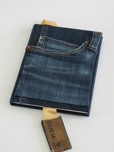 """Notebook My friend Jennifer C. was making books covers out of jeans before recycling became """"The IN Thing"""" to do."""