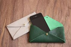 DIY leather envelope phone case from For the Makers