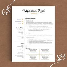 modern resume template for word and pages the madison instant download resume template - Pages Resume Template