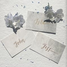 Watercolour Wedding Place Cards Gold Ink Calligraphy