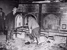 """Mauthausen.  Prisoners showing a furnace to their liberators.  Notoriously, at Auschwitz especially, prisoners were forced to collect the corpses of their gassed friends and family and load them into the ovens.  These """"Sonderkommando"""" or Special Detail were at first given preferential treatment, only to be exterminated themselves after a month or two, so as not to be able to give away camp secrets in the event of their escape."""