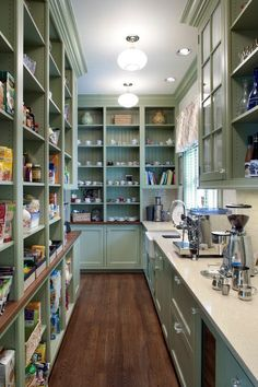 Very cool pantry. I love that it is narrow. You could have a couple of aisles like this and fit in so much.