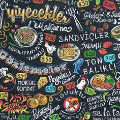 Digital chalk art painted menu design for cafe.