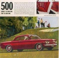 Fifty years on: 1963 Chevrolet Corvair brochure Cars Usa, Us Cars, Vintage Advertisements, Vintage Ads, Car Advertising, Pedal Cars, Cover Pics, Retro Cars, New Things To Learn