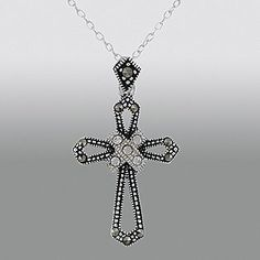 -Sterling Silver Marcasite Black and White Cross Pendant