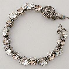 Sorrelli Snow Bunny Collection, Bracelets. Dazzling clear & champagne crystal bracelet with unique vintage pave clasp.