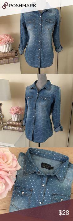 Denim Jean shirt Jean shirt!  - Polka dot print  - Size M      📬 THE SAME DAY SHIPPING   💰15% OFF ON BUNDLES     📱FOLLOW ME ON INSTAGRAM   @Showroom.Marusya    🚫 SORRY, NO TRADES Tops Button Down Shirts