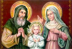 Lots of European influence in the art,  Mary as a small child with her parents, traditionally known by the names of Saint Joachim and Saint Anne.