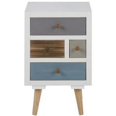 Fjørde & Co Kourtney 4 Drawer Bedside Table White Dressing Ikea, Pine Chests, Komodo, Drawer Fronts, Style Vintage, Recycled Materials, Modern Bedroom, Nightstand, Mesas