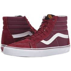 Vans SK8-Hi Reissue Chili Pepper/Black) Skate Shoes ($70) ❤ liked on Polyvore featuring shoes, sneakers, vans, men, red, red skate shoes, red black sneakers, black trainers, black leather sneakers and leather skate shoes
