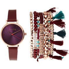 Jessica Carlyle ST1922RG477 Rose Gold-Tone & Burgundy Watch & Bracelet... ($27) ❤ liked on Polyvore featuring jewelry, watches, gold, steel bracelet watch, leather-strap watches, bezel watches, steel jewelry and rose gold tone watches