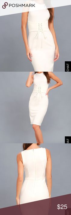 Lulus white lace up dress Beautiful new with tags dress from Lulus! Fits true to size and is very sexy! Has sewn in very soft and silky opacity lining that is seamless and then separates at the bottom. This dress is cut for every curve to give you an hourglass shape, even if you don't have one!! Can not discount unless you are bundling, thank you!  Still wrapped in the Lulus clear plastic wrapping with tags still attached never worn or tried on!! Lulu's Dresses Midi