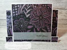 Erin fairclough  Fancy card blank – square step card  Colorista dark – floral bouquet  Printable vellum  Tape pens  Metallic pencils – pink , violet , purple #spectrumnoir #crafterscompanion #cardmaking