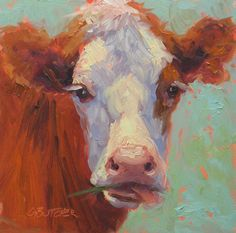 Raspberry by Ginny Butcher Oil ~ 6 x 6 Cattle, Raspberry, Cow, Fabric, Challenge, Pencil, Painting, Animals, Frame