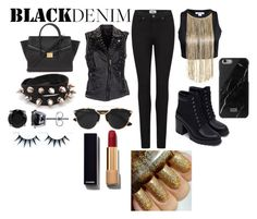 """""""black denim"""" by ry08 ❤ liked on Polyvore featuring Paige Denim, MuuBaa, Zara, Christian Dior, Forever 21, BERRICLE, Chanel, women's clothing, women's fashion and women"""