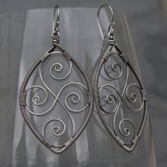 Sterling and Fine Silver Wire Wrapped Swirl Hoops