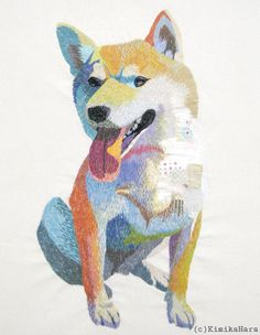 """""""Konnichiwa!"""": embroidered dog by Kimika Hara"""