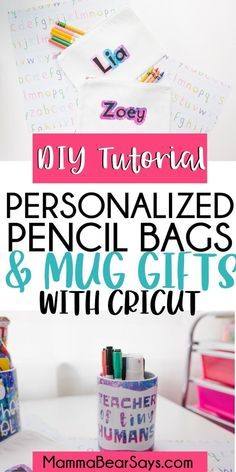 #AD This back to school season surprise your kid's teacher with a personalized mug & send your kids back with a personalized pencil bag! DIY possibilities are endless with my Cricut machines! Both SUPER SIMPLE tutorials HERE! These designs will leave you wanting to create so much more! #cricutmade #cricutcreated #cricut #cricutcraft #diygift Personalized Pencils, Personalized Gifts, Educational Crafts, Back To School Supplies, Pencil Bags, Teacher Gifts, Cricut, Diy Crafts, Mugs