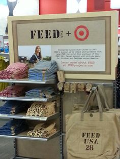 Fyi: Feed was created by Lauren Bush Lauren, Princeton graduate, granddaughter of George Bush and daughter in law of Ralph Lauren himself. For every purchase made, there is a # on the tag and/or product and that's the # of meals that your purchase of that product provides to families in need. Love it. She is amazing.
