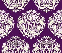 Heritage Lion Damask fabric by jammy_fox on Spoonflower - custom fabric