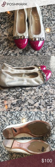 AGL flats 37 Beautiful pair of comfortable AGL flats size 37. Pink and cream with shimmer... adorable!! agl Shoes Flats & Loafers