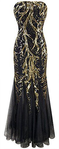 Angelfashions Womens Sequin Strapless Paillette Tree Branch Tulle Mermaid Gown Dress Large *** See this great product. (This is an affiliate link and I receive a commission for the sales)