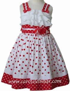 New Beautiful Girls Minnie Red and White Polka Dot Dress 17715 | eBay